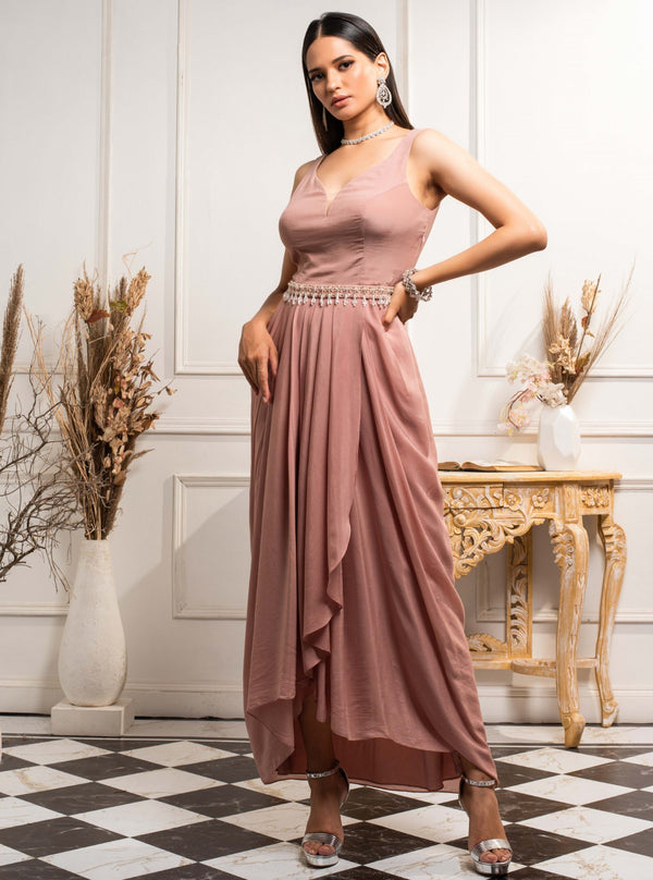 Seema Thukral-Dusty Pink Pleated Dress-INDIASPOPUP.COM