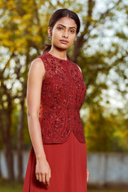 Sana Barreja-Maroon Layered Sharara With Jacket-INDIASPOPUP.COM