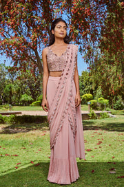 Sana Barreja - Blush Pink Saree With Embroidered Blouse - INDIASPOPUP.COM