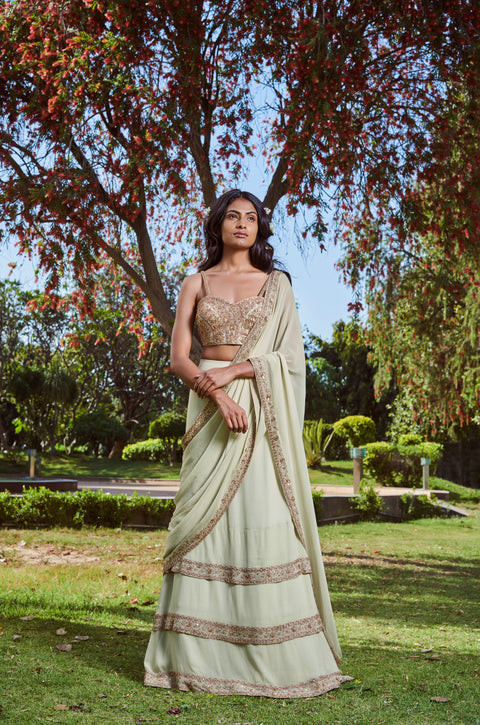 Sana Barreja - Mint Lehenga Saree With Embroidered Blouse - INDIASPOPUP.COM