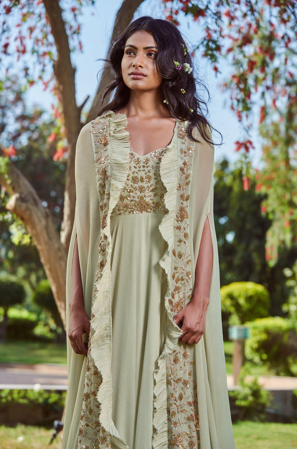 Sana Barreja - Mint Green Anarkali With Cape - INDIASPOPUP.COM