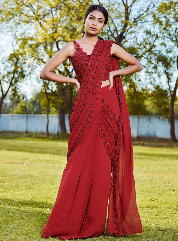 Sana Barreja - Maroon Embroidered Saree - INDIASPOPUP.COM