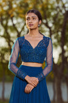 Sana Barreja - Teel Blue Embroidered Lehenga Set - INDIASPOPUP.COM