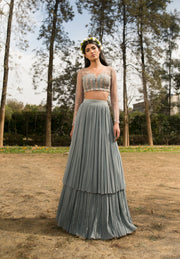 Sana Barreja - Ice Blue Embroidered Lehenga - INDIASPOPUP.COM