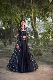 Sana Barreja - Black Printed Jacket Embroidered Lehenga - INDIASPOPUP.COM