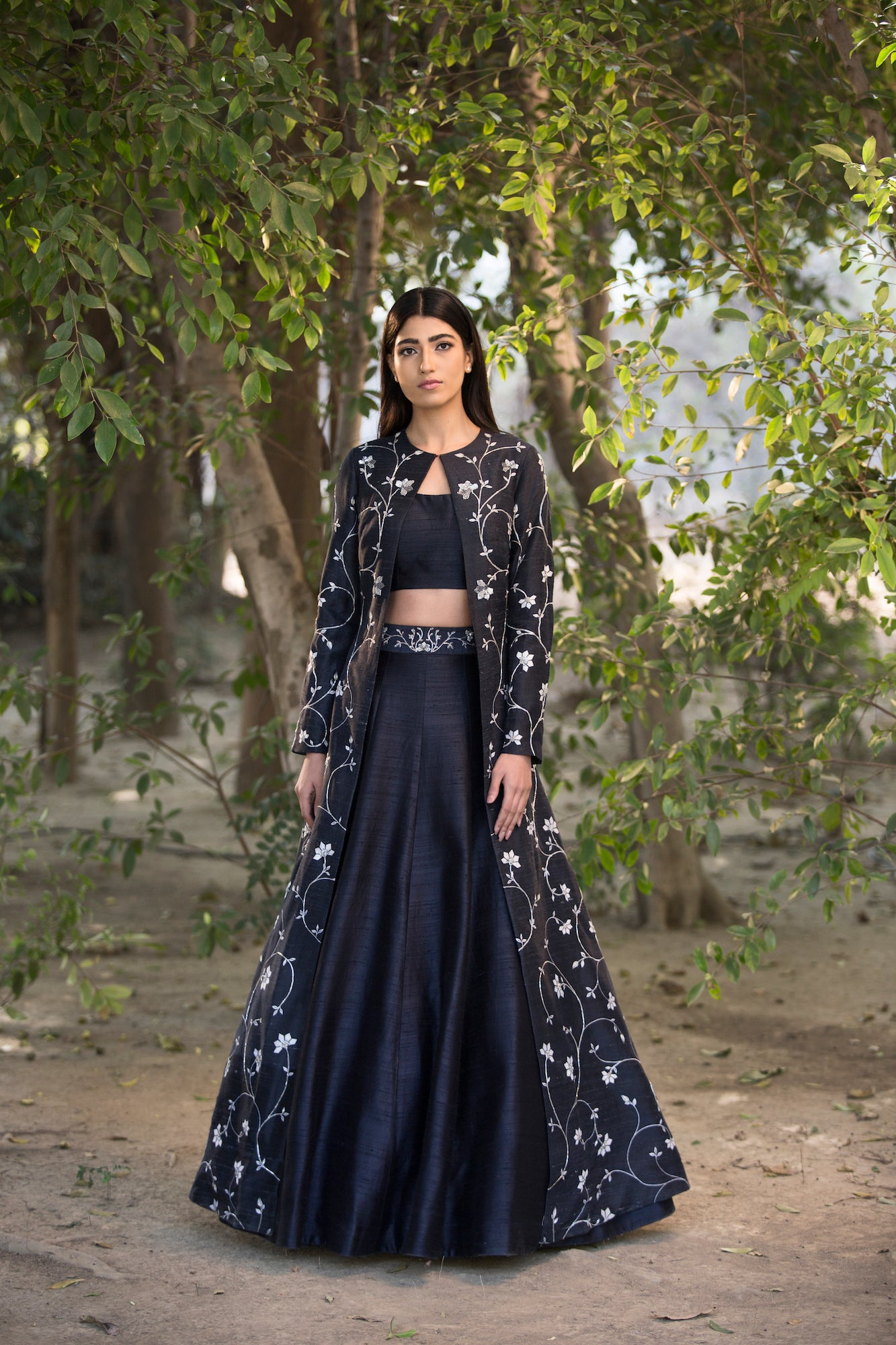 SANA BARREJA BLACK PRINTED JACKET EMBROIDERED LEHENGA