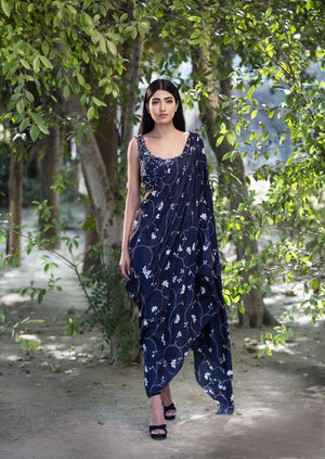 SANA BARREJA NAVY SILK DRAPED EMBROIDERED SARI