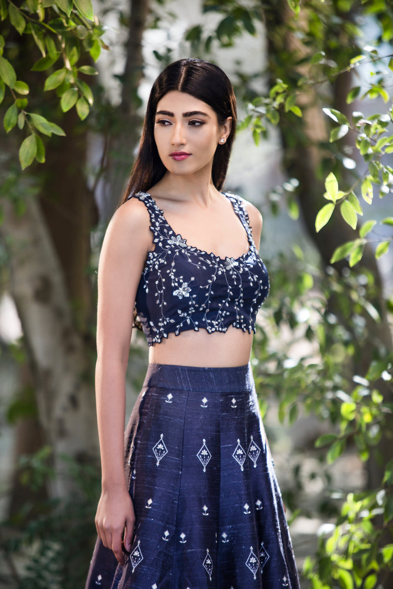 SANA BARREJA NAVY BLUE PRINTED LEHENGA WITH EMBROIDERED BLOUSE