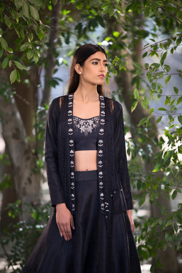 Sana Barreja - Black Embellished Lehenga With Fringe Jacket - INDIASPOPUP.COM