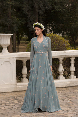 SANA BARREJA ICE BLUE PRINTED EMBELLISHED ANARKALI