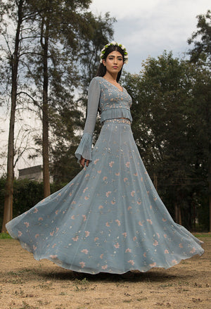 SANA BARREJA ICE BLUE EMBELLISHED PRINTED LEHENGA