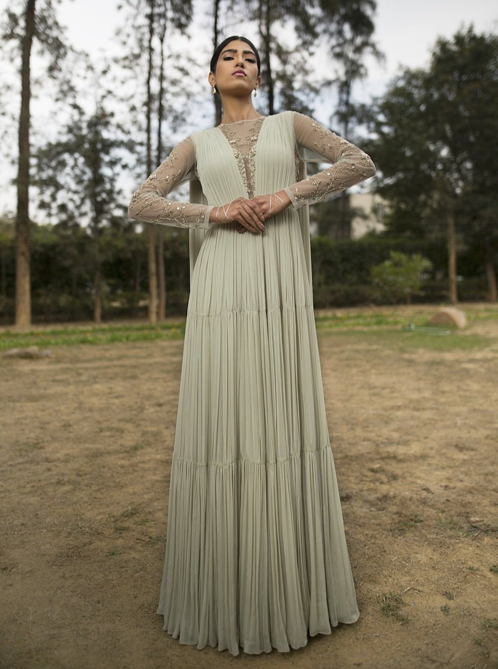 Sana Barreja - Mint Green Gather Anarkali - INDIASPOPUP.COM