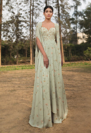 SANA BARREJA MINT GREEN EMBELLISHED PRINTED CAPE ANARKALI