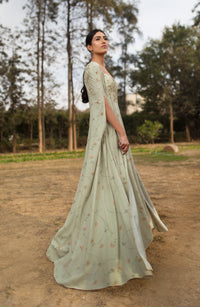 Sana Barreja - Mint Green Embellished Printed Cape Anarkali - INDIASPOPUP.COM