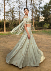 Sana Barreja - Mint Green Embroidered Tassel Lehenga - INDIASPOPUP.COM