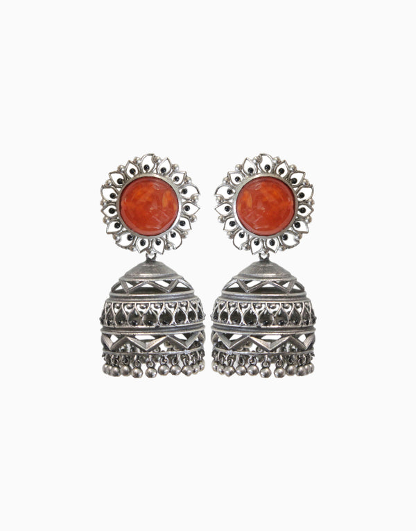 Hyperbole - Nakshi Earrings With Orange Carnelian - INDIASPOPUP.COM