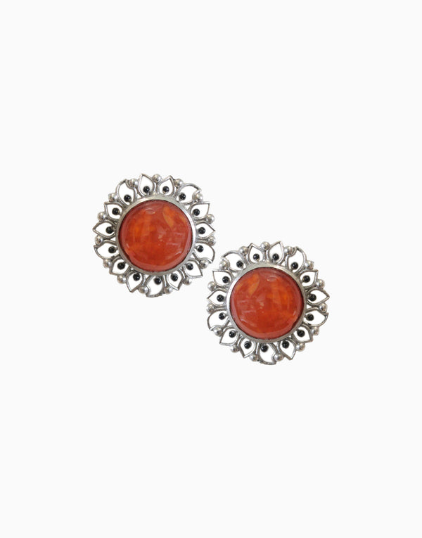 Hyperbole - Silver Bloom Studs With Orange Carnelian - INDIASPOPUP.COM