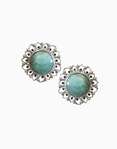 Silver Bloom Studs With Green Aventurine