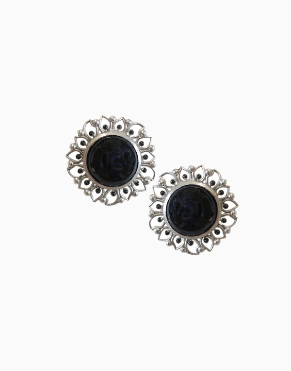 Hyperbole - Silver Bloom Studs With Black Onyx - INDIASPOPUP.COM