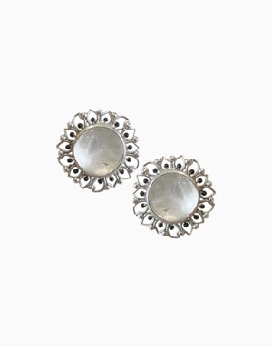 HYPERBOLE SILVER BLOOM STUDS WITH WHITE CRYSTAL QUARTZ