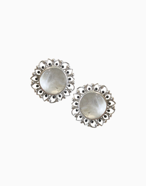 Hyperbole - Silver Bloom Studs With White Crystal Quartz - INDIASPOPUP.COM