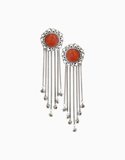 Hyperbole - Silver Bloom Tassels With Orange Carnelian - INDIASPOPUP.COM