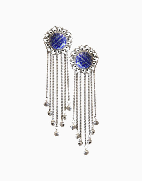 Silver Bloom Tassels With Blue Lapis Lazuli