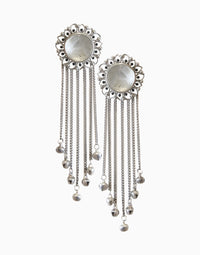 Hyperbole - Silver Bloom Tassels With White Crystal Quartz - INDIASPOPUP.COM