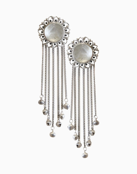 Silver Bloom Tassels With White Crystal Quartz
