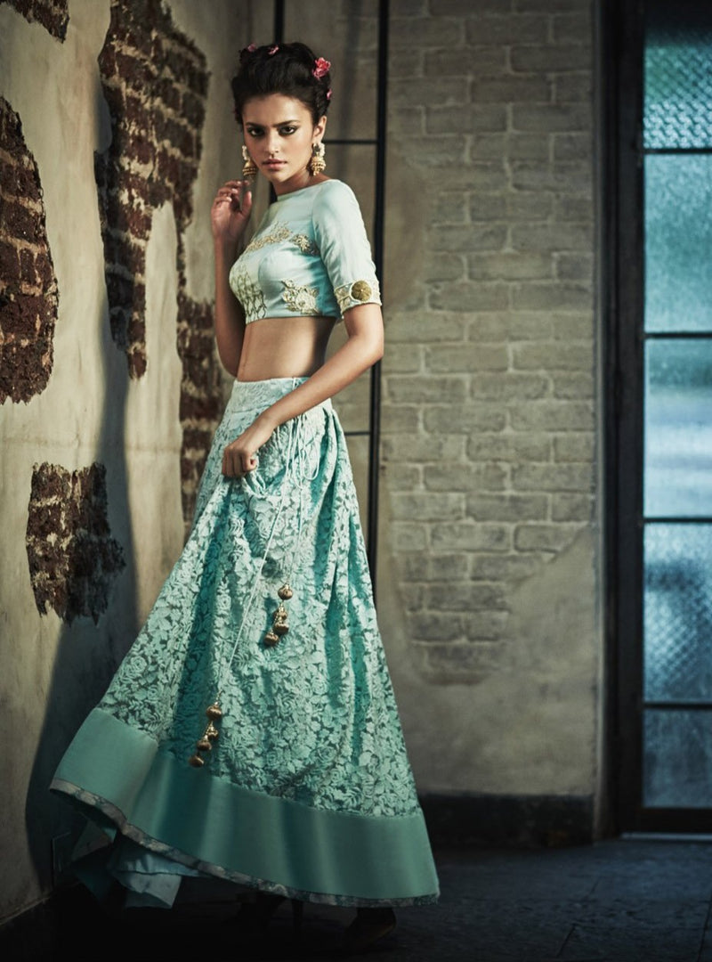 The Little Black Bow - Blue Crop Choli With Vintage Skirt - INDIASPOPUP.COM