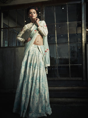 The Little Black Bow - Ivory Silk Choli With Vintage Skirt - INDIASPOPUP.COM