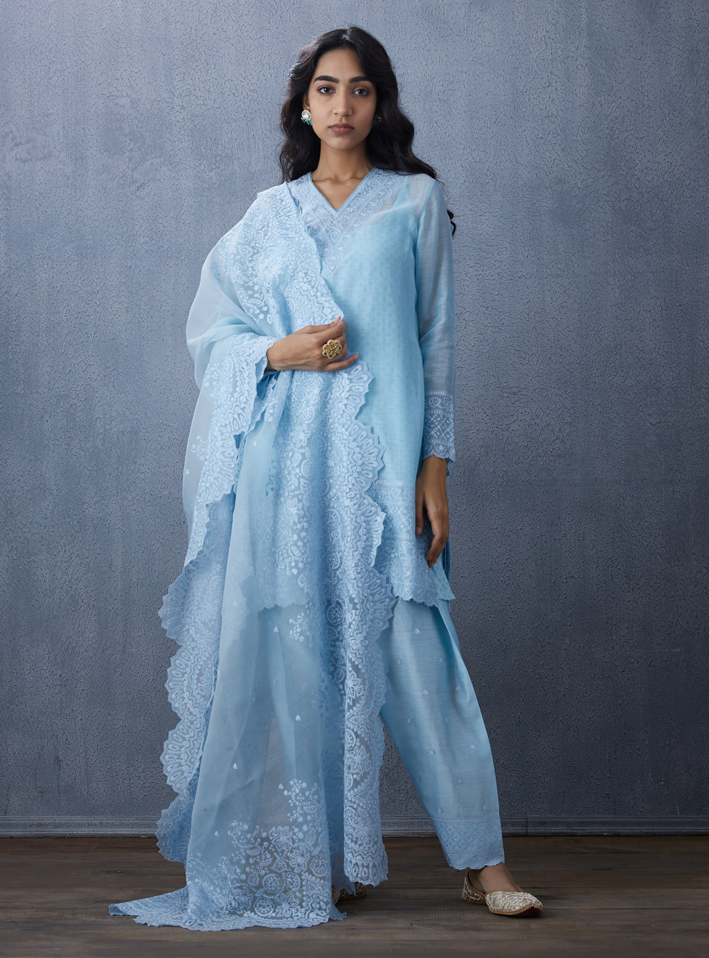 Sky Blue Pant With Kurta & Dupatta