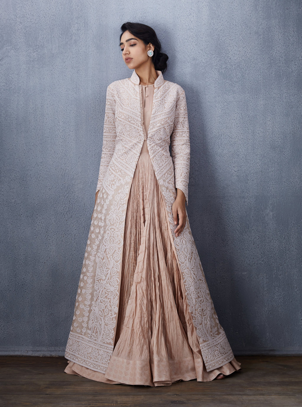 Torani-Peach Long Dress With Jacket-INDIASPOPUP.COM