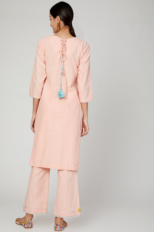 The Right Cut-Pink Sunset Flower Kurta Pants Set-INDIASPOPUP.COM