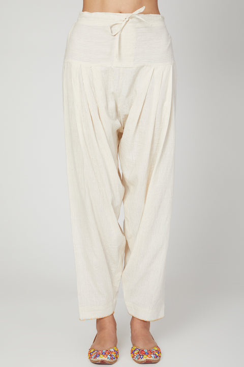 The Right Cut-White Lotus Overlap Kurta Pants Set-INDIASPOPUP.COM