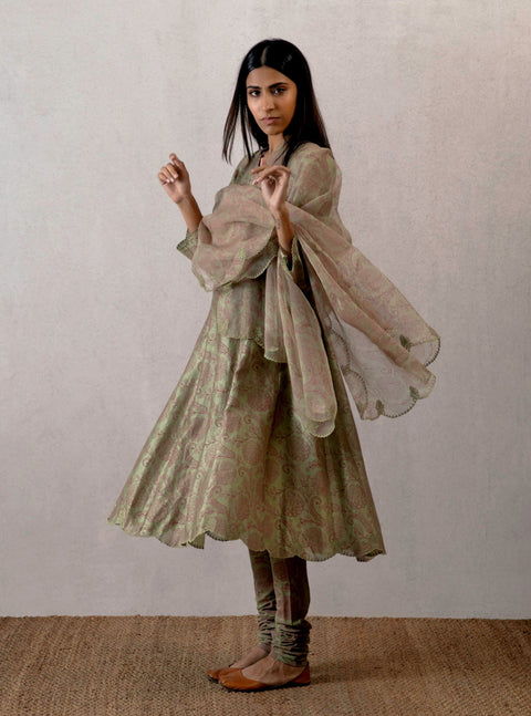 Torani - Green Kurta With Churidar & Dupatta - INDIASPOPUP.COM