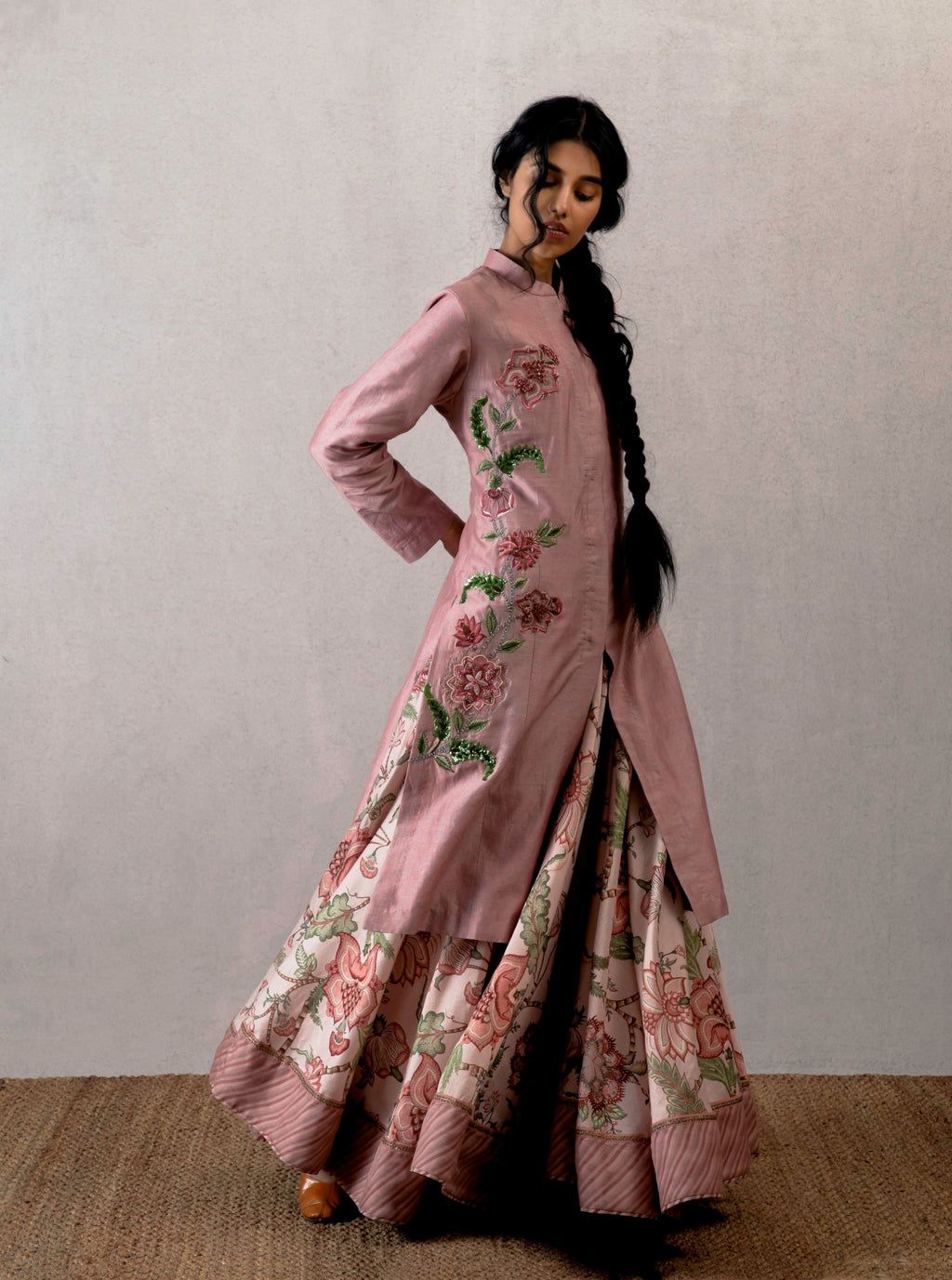 Torani - Pink Bahaar Cheent Embroidered Jacket - INDIASPOPUP.COM