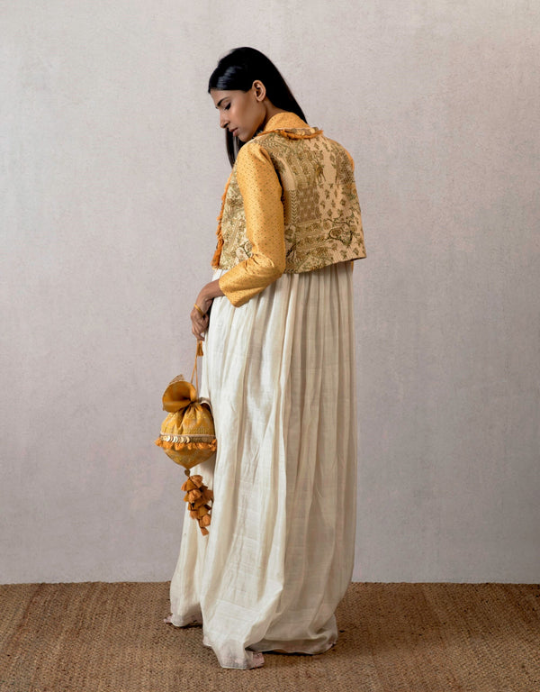 Torani-Ecru Chanderi Handwoven Dress-INDIASPOPUP.COM