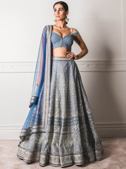 Tarun Tahiliani-Blue Lehenga Set With Dupatta-INDIASPOPUP.COM