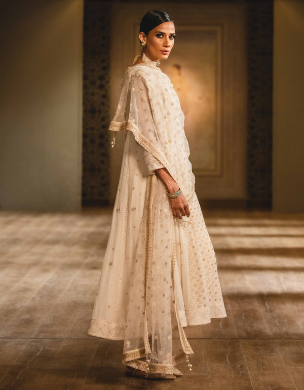 Ivory Kalidar Kurta With Pants & Dupatta