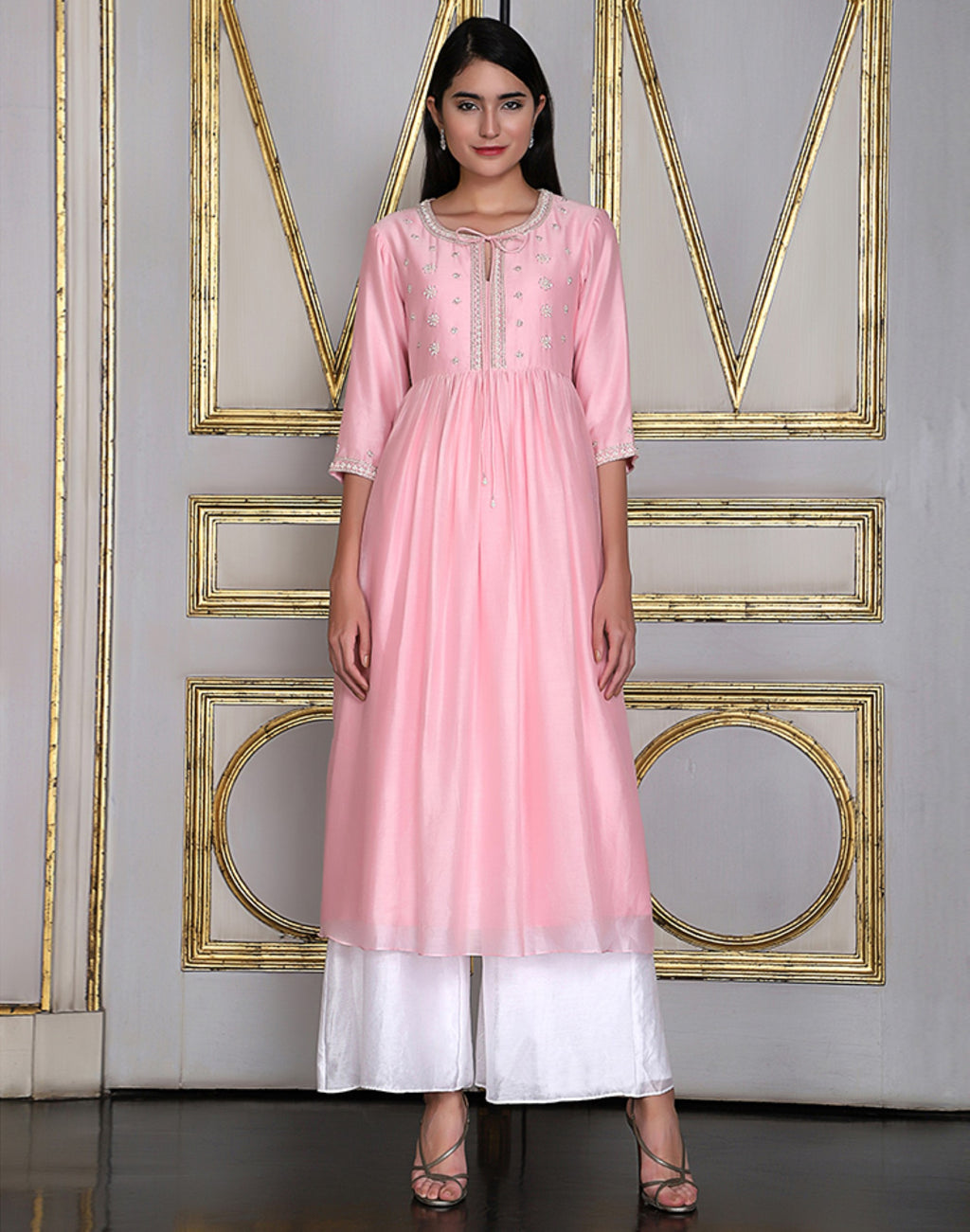 Umrao Couture - Pink Gathered Embroidered Kurta Set - INDIASPOPUP.COM