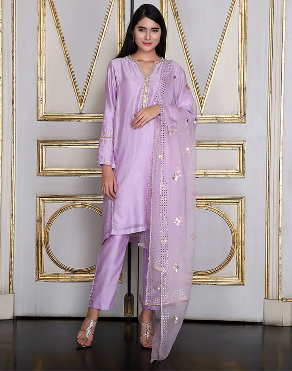 Umrao Couture - Lavender Embroidered Kurta Set - INDIASPOPUP.COM