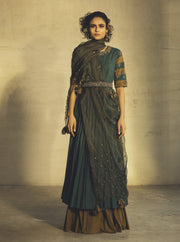Parul And Preyanka-Teal Anarkali With Jacket & Belt-INDIASPOPUP.COM