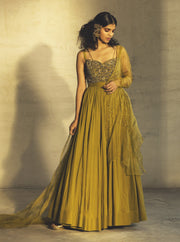 Parul And Preyanka-Lime Green Anarkali With Drape Dupatta-INDIASPOPUP.COM