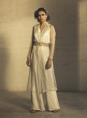 Parul And Preyanka-White Jumpsuit With Trench & Belt-INDIASPOPUP.COM