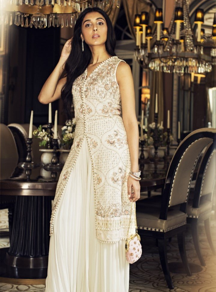 Umrao Couture - Ivory Kurta With Palazzo Pants Set - INDIASPOPUP.COM