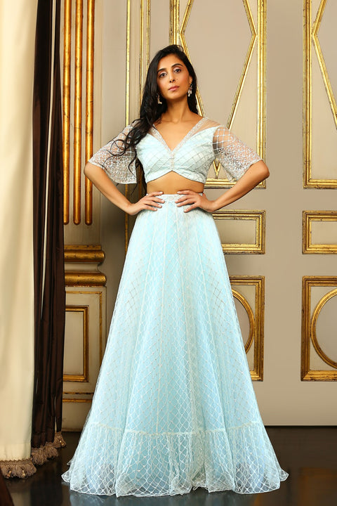 Pernia Qureshi - Pastel Blue Blouse With Gathered Skirt Set - INDIASPOPUP.COM