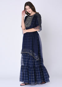 Navy Blue Short Kurta With Sharara & Cape