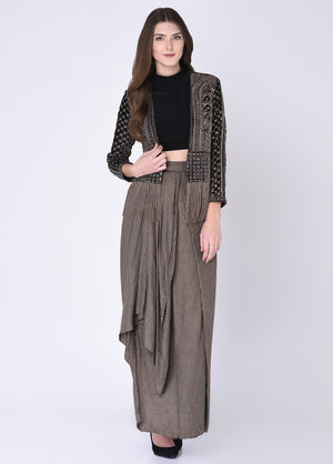 House Of Neha & Tarun - Brown & Black Top With Skirt & Jacket - INDIASPOPUP.COM