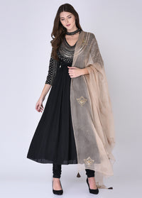 House of Neha & Tarun - Black & Brown Pleated Suit Set - INDIASPOPUP.COM